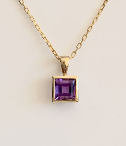 Purple Square Amethyst  Yellow Gold Necklace J62-9152-16